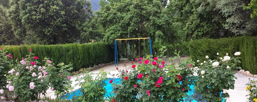 Zona piscina y columpios de la casa rural en Yeste - Casas Rurales Amable